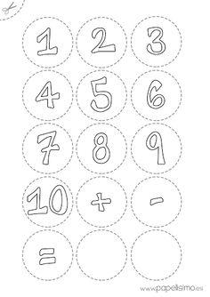 Recorta los números por la línea discontinua y pega sobre una base de cartón (puedes reciclar una caja de cartón) para que sean más resistentes.  – Pinta con los rotuladores de colores las pinzas de madera, tantas pinzas de un color como el número que le corresponda: Si el uno es azul, una pinza azul. Si el 2 es amarillo, dos pinzas amarillas…