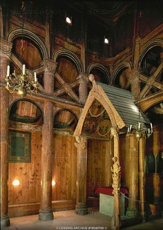 Borgund stave church, Sogn, Norway. Interior with altar