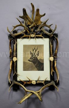The Grand Budapest Hotel decor by artfour - black forest antler picture frame with deer print ca. Hotel Decor, Lodge Decor, Bauhaus, Black Forest Wood, Log Home Interiors, Art Nouveau, Antique Picture Frames, Antler Art, Little Cabin