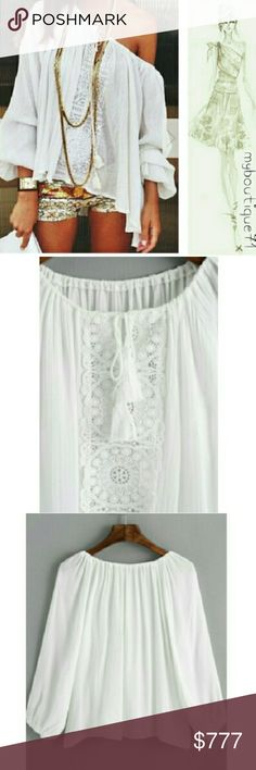 Boho Off Shoulder Top White Fringe end Tassel Tie-neck Embroidered Lace Detailed Embellishment Loose Blouse one-size fits most Fabric has little to no stretch Long Sleeve Material Polyester Loose flowy fit. Boat Neck See Detailed Size Chart Posted in Photos. All Sales are Final Per Poshmark. Please Read Description and Ask any and all Questions Prior to Purchase. I Want My Customers to be Happy!!Thank you! Tops