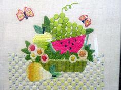 70s Crewel Embroidery Needlework - Completed & Framed Watermelon Fruit Basket  #Unbranded
