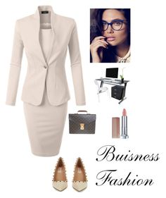 """""""Business Elegance"""" by kotnourka ❤ liked on Polyvore featuring LE3NO, Valentino, Louis Vuitton and Maybelline"""