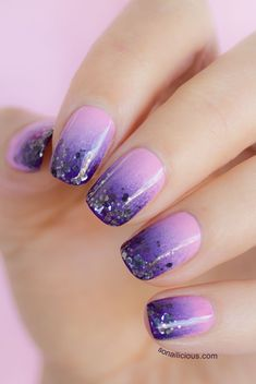 Purple glitter gradient nails. Click for manicure details.