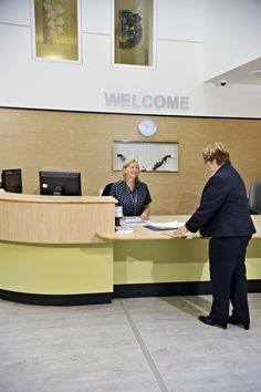 South Petherton Hospital is designed to be a centre of excellence for stroke rehabilitation in the Somerset area with 24 inpatient bedrooms Reception Desk Design, Community Hospital, Hospital Room, Center Of Excellence, Timber Cladding, Waiting Area, Commercial Interiors, Receptions, Somerset