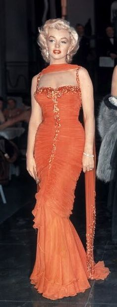 marilyn Monroe orange dress gentlemen prefer blondes - Google Search