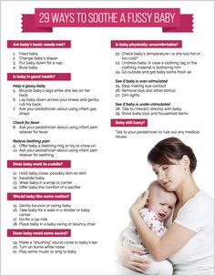 29 Ways to Soothe a Fussy Baby - Printable Checklist