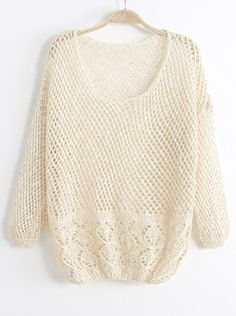 Beige Long Sleeve Hollow Loose Pullover Sweater