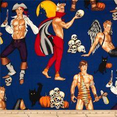 Haunted House Haunting Hunks - OOP Alexander Henry - Halloween Fabric by the yard Halloween Fabric, Halloween Pillows, Alexander Henry Fabrics, Art Of Man, Navy Fabric, Gay Art, Pulp Art, Fabric Remnants, Fiber Art