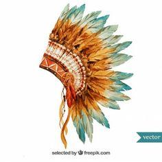 Pintados à mão cocar indígena Mais