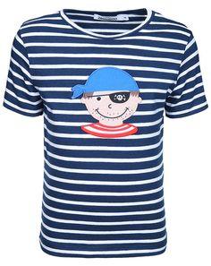 T-Shirt CAPTAIN JACK gestreift in dunkelblau/weiß