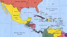 Map of Central America and southern U.S.