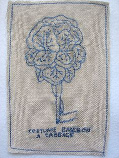 """""""Costume based on a cabbage"""" - embroidery on linen, Michelle Kingdom"""