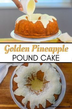 Learn how to make pound cake with this tropical twist on your favorite southern dessert. Dash of Jazz combines classic pound cake recipe with golden pineapple to bring a sweet pineapple dessert idea to life in her kitchen and you can to. Includes and easy vanilla frosting recipe and everything is made from scratch! #dashofjazzblog #pineapplecake #pineapplecakerecipeeasy #poundcakeglaze Pineapple Pound Cake, Pineapple Desserts, Classic Pound Cake Recipe, Vanilla Frosting Recipes, Pound Cake Glaze, Southern Desserts, Southern Recipes, Southern Pound Cake, Angel Food Cake Pan