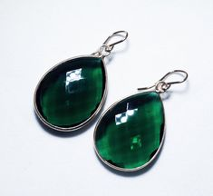Green Hydro Quartz Dangle Earrings 22K by elizabethlydonstudio