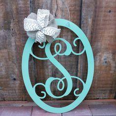 Save 10% Monogram Door hanger, Front Door Wreath, Wall Hanging, Easter Sign, Wedding Guest Book, Front Door Decor, Wedding Gift Idea, 22 in by OurLittleShopDesigns on Etsy