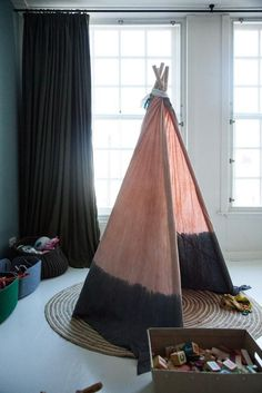 Gorgeous kids room with pink and grey ombre teepee