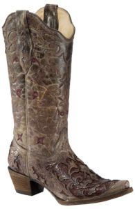 Corral® Ladies Distressed Brown w/ Rust Brown Caiman Inlay Snip Toe Western Boots