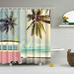 Style: Modern Feature: Eco-FriendlyMaterial: Waterproof washable polyesterPackage: 1 shower curtain & 12 plastic hooks Size: S = cm, L = cm Pineapple Shower Curtain, Flamingo Shower Curtain, Shower Curtain Art, Beach Shower Curtains, Bathroom Shower Curtains, Fabric Shower Curtains, Retro Bus, Colorful Curtains, Patterns In Nature