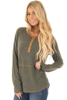 07fe5870f3 Lime Lush Boutique - Olive Henley Top with Mustard Stitch Detail