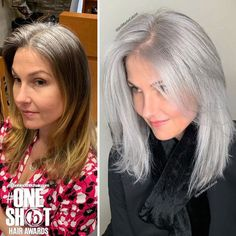 Stylist shows gorgeousness of grey hair instead of covering it up Grey Hair Transformation, Natural Hair Styles, Short Hair Styles, Short Gray Hair, Curly Gray Hair, Lilac Hair, Emo Hair, Pastel Hair, Grey Hair Natural
