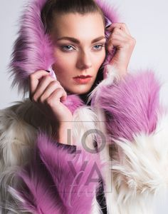 Bi-Color Faux Fur Hooded Jacket in Cream Swan with Pale Lila Highlights. Faux Fur Hooded Jacket, Vegan Fashion, Single Piece, Swan, Hoods, Highlights, Cream, Color, Lilac