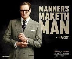 Poster 38 x 29 cm Motivational Kingsman Manners Maketh Man Harry Galahad 01