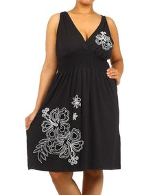 Look at this Black Floral Surplice Dress - Plus on #zulily today!