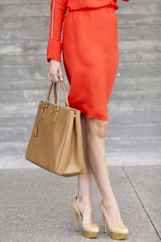 Absolutely love this color combination: The dress is so bold and bright, especially with neutral accents.