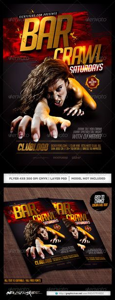 Bar Crawl Flyer Template PSD | Buy and Download: http://graphicriver.net/item/bar-crawl-flyer-template-psd/8454365?WT.ac=category_thumb&WT.z_author=INDUSTRYKIDZ&ref=ksioks