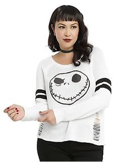 This'll keep your bones warm // The Nightmare Before Christmas Jack Skellington Girls Destructed Sweater Plus Size