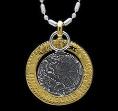 MEXICAN COIN 925 STERLING SILVER & BRASS MEN's PENDANT