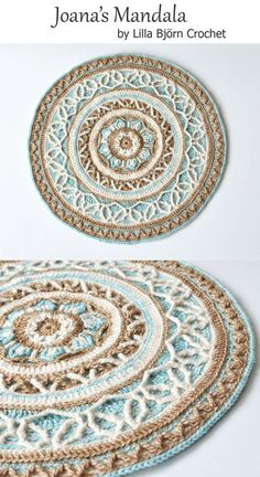 Joana's mandala is made in overlay crochet technique. It can be used in many ways: as an applique for a pillow, stool cover, trivet and even a round pillow. Crochet pattern by Lilla Björn Crochet.