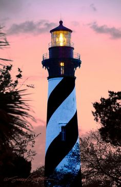 St Augustine Lighthouse at dusk.