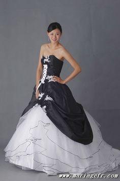 robe de marie noire, robe de marie longue pas cher
