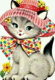 Vintage Cat with Hat Grandma Birthday card Happy Birthday Vintage, Vintage Valentines, Happy Birthday Cards, Vintage Greeting Cards, Vintage Postcards, Vintage Images, Printable Images, Old Cards, Cat Birthday