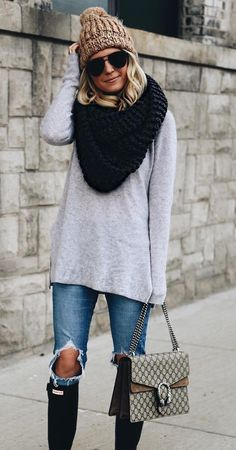 #winter #outfits /  Grey Knit // Black Wool Scarf // Camel Beanie // Destroyed Skinny Jeans // Black Boots
