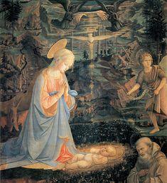 Lippi, adorazione di Camaldoli.L'Adorazione del Bambino di Camaldoli è un dipinto a tempera su tavola (140x130 cm) del pittore Filippo Lippi, datato 1463 e conservato nella Galleria degli Uffizi a Firenze.