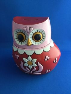 1968 Vintage Pride Creations Owl Bank Nice Colors