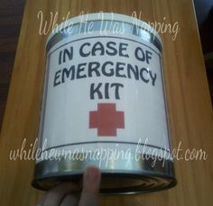 Car Emergency Kit - I like the idea of using the can and making a list of the contents on back but would use first aid supplies. Emergency Preparation, Emergency Preparedness, Emergency Kits, Survival Kits, Emergency Planning, Emergency Supplies, Great Gifts For Guys, First Aid Supplies, 72 Hour Kits