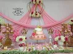 Pink and gold dessert table at a princess baby shower party! See more party planning ideas at CatchMyParty.com!
