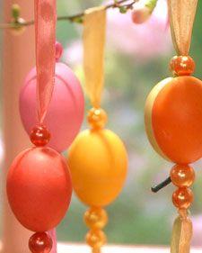Martha Stewart egg ornaments. http://www.marthastewart.com/344031/ribbon-egg-ornaments | Rit Dye