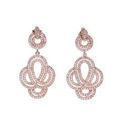 #Pendientes elaborados en #plata 925 con #baño en #oro #rosa y plata rodiada, que presenta un #original #diseño #doble, decorado con #circonitas. #Joyas #Jewelry #elegance #pink#gold #silver #thebestgift #elmejorregalo en #Qillqabyjoyayplata