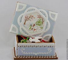 Perníková kazeta * zdobená malovaným zimním motive.