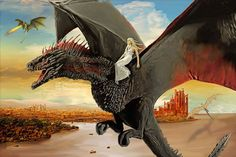 Daenerys Targaryen atop Drogon, with Rhaegal and Viserion patrolling the skiesl | by Hilary Heffron, Hilarious Delusions