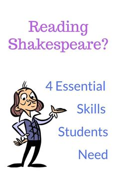 4 Essentials Skills For Reading Shakespeare If you're teaching Shakespeare your student will need to have some skills. Here are 4 of them and how to teach them. Ap Literature, British Literature, Teaching Literature, Teaching Reading, Learning, High School Classroom, English Classroom, High School Students, English Teachers