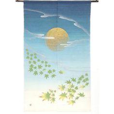 Moonlight Night and Maple Pattern Noren Curtain