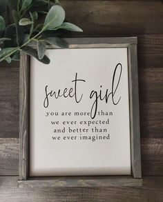 Sweet girl Farmhouse sign/Canvas Sign/Modern Farmhouse decor/babygirl nursery sign/ baby shower gift/farmhouse frame/wood frame/ - Sweet girl sign Weathered grey stain-item seen in picture Materials: pine wood, stain, canva - Farmhouse Frames, Modern Farmhouse Decor, Farmhouse Signs, Farmhouse Nursery Decor, Rustic Nursery, Modern Decor, Farmhouse Décor, Modern Crafts, Antique Farmhouse