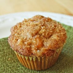 Apple muffins! I did 2:1 whole-wheat to all-purpose flour, 3/4 c. to 1/4 c. canola oil/olive oil, and grated the apples.