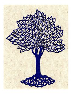 Navy Blue Tree Vintage Woodcut Graphic Art by KitschyKitschyCool