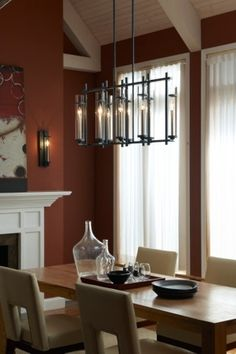 Ethan Collection By Feiss: 8 Light Island Chandelier. #chandelier #dining #